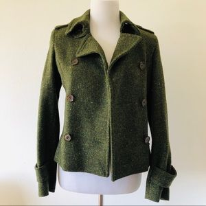 ANDREW MARC EMERALD GREEN WOOL PEACOAT SIZE 4